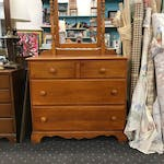 A standard mid-century chest and mirror also is fodder for transformation.